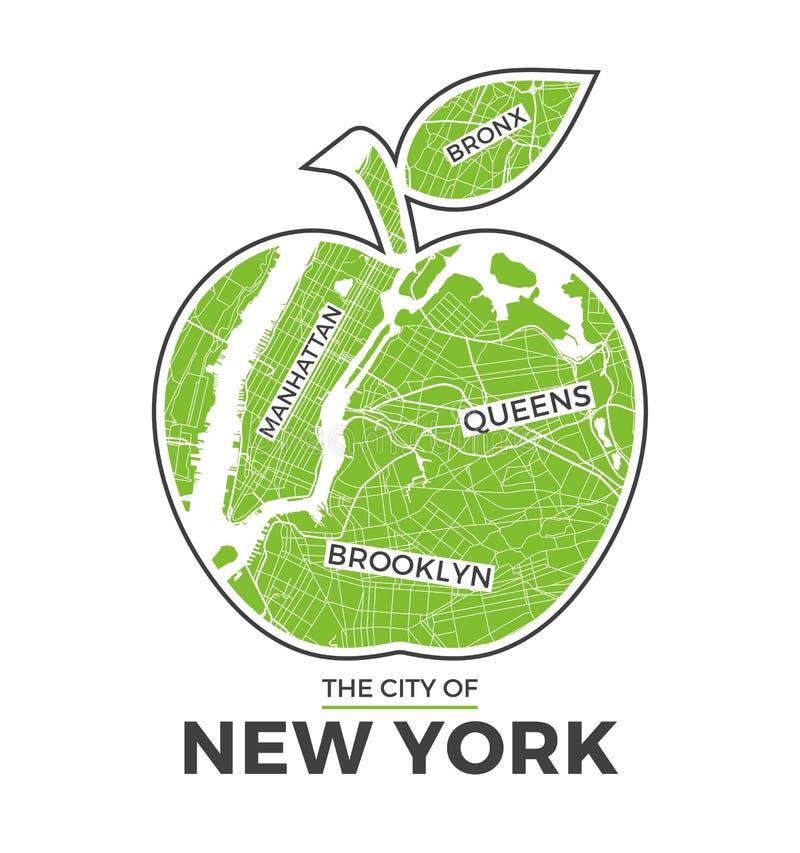 New York big apple t-shirt graphic design with city map. Tee shirt print, typography, label, badge, emblem. Vector illustration stock illustration
