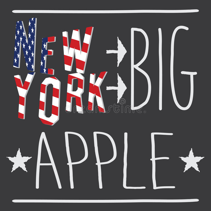 New York Big apple typography poster, t-shirt Printing design, vector Badge Applique Label.  stock illustration