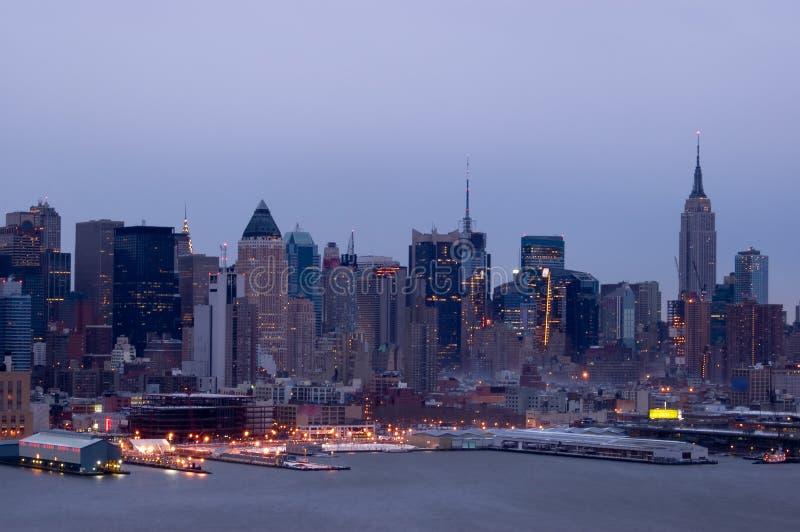 New York bij schemer royalty-vrije stock foto's