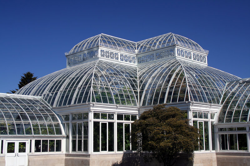 New York Botanical Garden. The Enid A. Haupt Conservatory at the New York Botanical Garden in the Bronx. Beautiful glass structure that houses trees, plants and royalty free stock image