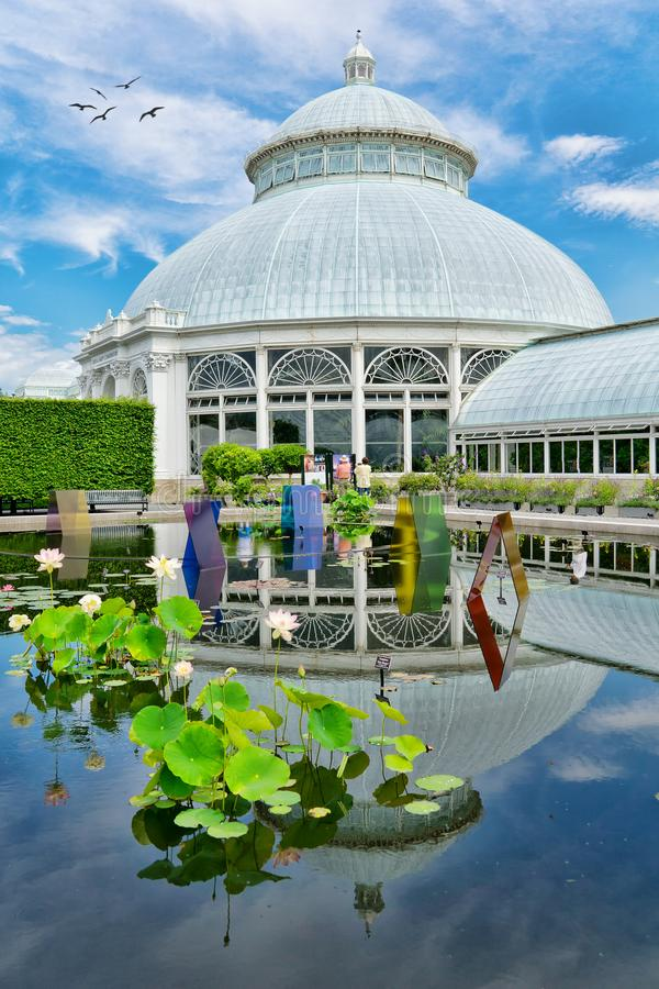 The New York Botanical Garden. The pond with glass displays at the New York Botanical Garden in the Bronx, NY royalty free stock image