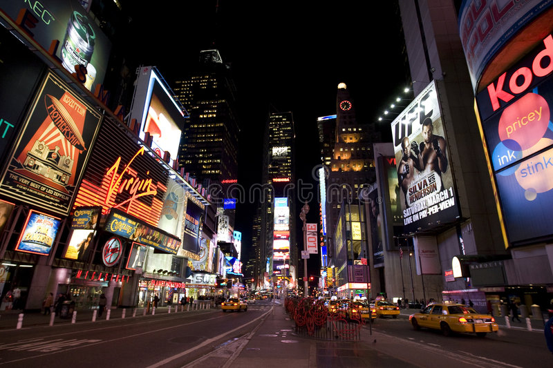 New York Broadway at night royalty free stock photo