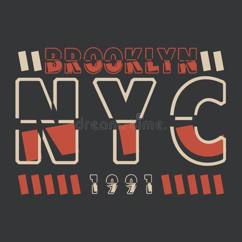New York Brooklyn Anskaffning f?r designen av en T-tr?ja, baner, affisch och s? vidare stock illustrationer