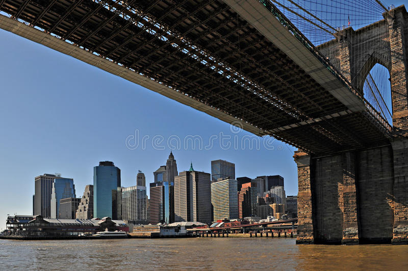 Download New York Brooklyn Bridge With Manhattan As Backgro Stock Image - Image: 10084135