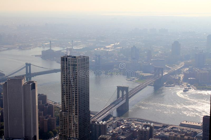 New York Brooklyn Bridge. This photo was taken in October, 2012 in New York City. The angle was taken from the Construction zone of the new world trade center as royalty free stock images