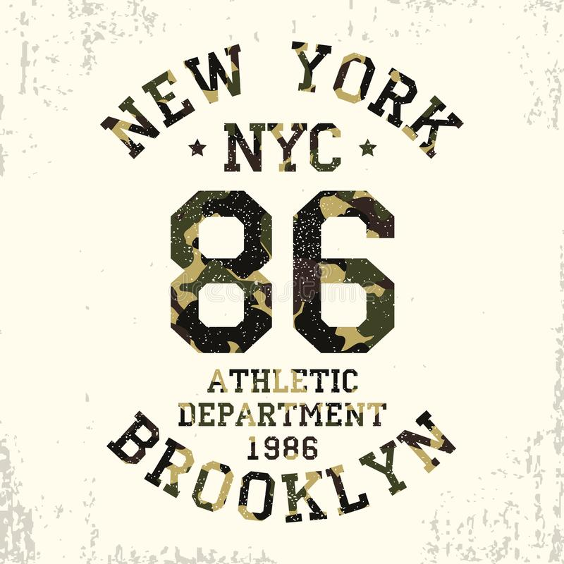 New York, Brooklyn - camouflage grunge typography for design clothes, athletic t-shirt. Graphics for number apparel. Vector. stock illustration