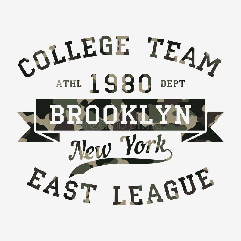 New York, Brooklyn - camouflagetypografie voor ontwerpkleren, atletische t-shirt Grafiek voor drukproduct, kleding Vector stock illustratie