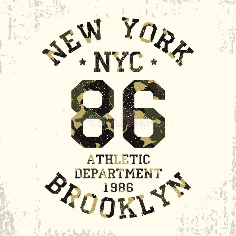 New York Brooklyn - kamouflagegrungetypografi för designkläder, idrotts- t-skjorta Diagram för nummerdräkt vektor stock illustrationer