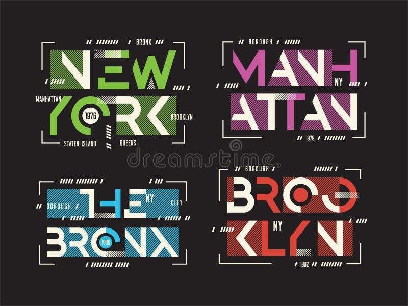 New York Brooklyn le T-shirt et l'habillement de vecteur de Bronx Manhattan illustration libre de droits