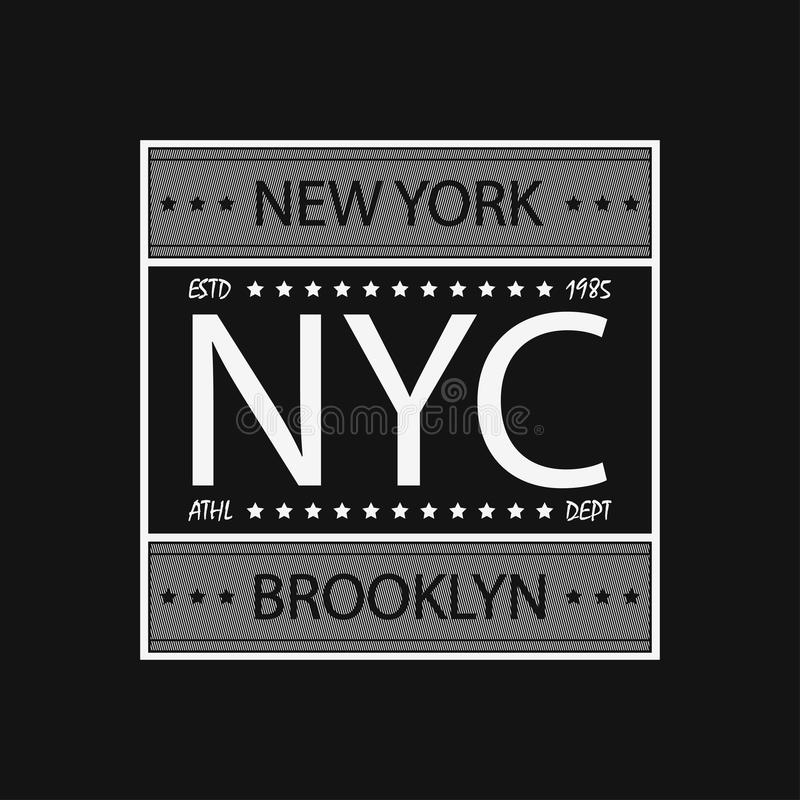 New York, Brooklyn - moderne typografie voor ontwerpkleren, atletische t-shirt Grafiek voor drukproduct, kleding Vector vector illustratie