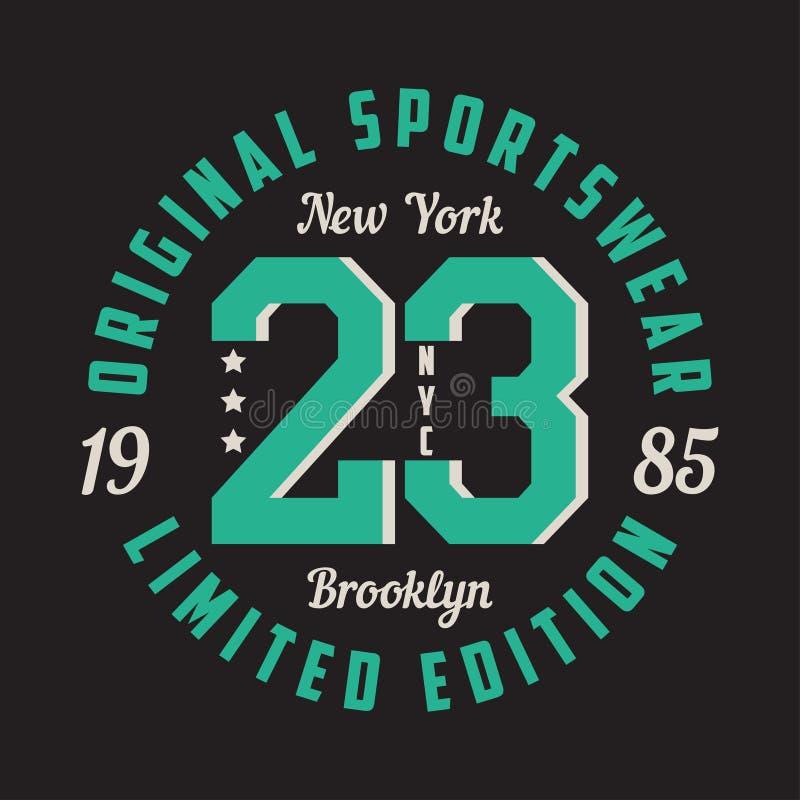 New York, Brooklyn - progettazione grafica per la maglietta, abito di sport Tipografia per i vestiti Abiti sportivi originali, st illustrazione di stock