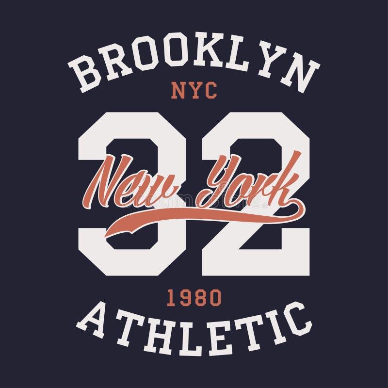 New York Brooklyn sportdräkt Typografiemblem för t-skjorta Tappningklädertryck, idrotts- nummerdesign vektor vektor illustrationer
