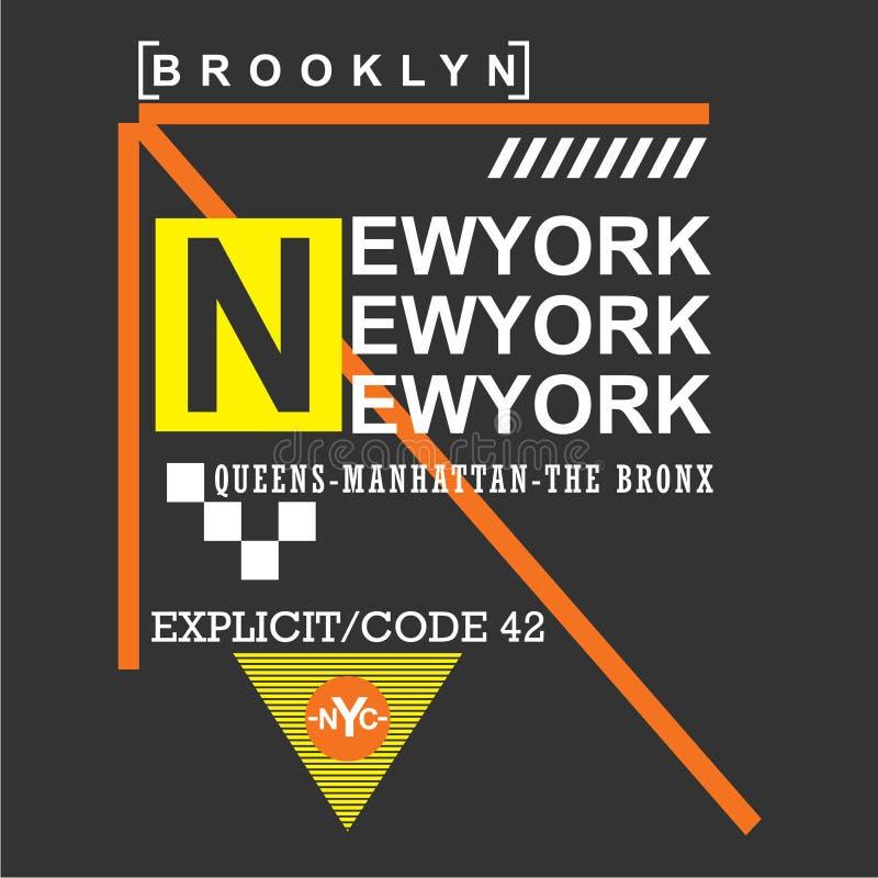 New York/Brooklyn-Stadt/-nyc Typografie-Design für T-Shirt stock abbildung