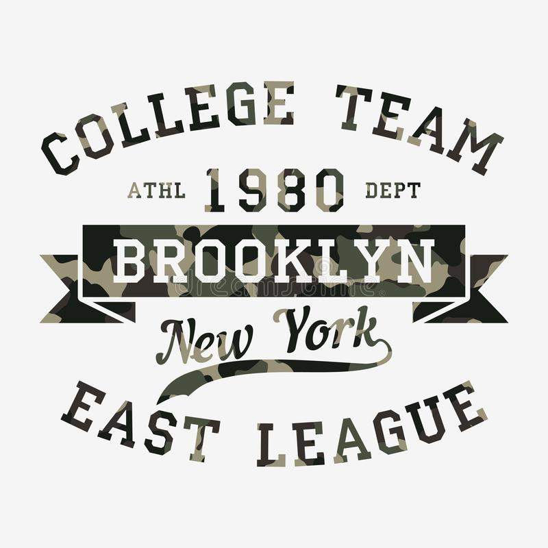 New York, Brooklyn - tarnen Sie Typografie für Designkleidung, athletisches T-Shirt Grafiken für Druckprodukt, Kleid Vektor stock abbildung
