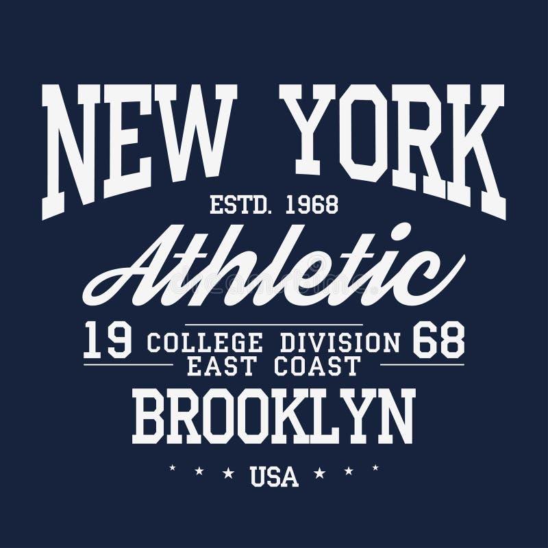 New York Brooklyn typografi, emblem för t-skjorta tryck Universitets- stilt-skjorta diagram royaltyfri illustrationer