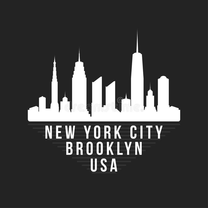New York Brooklyn typografi för t-skjorta tryck New York City horisont för utslagsplatsdiagram ägget för designen för bakgrundsbl royaltyfri illustrationer