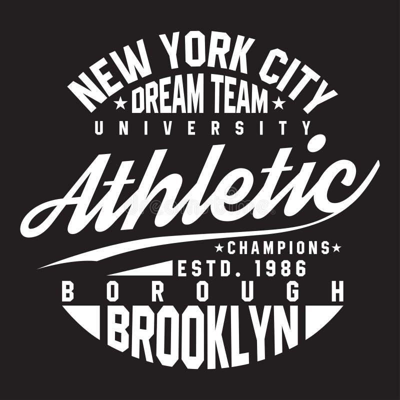 New York Brooklyn typografi för t-skjorta tryck Sportar idrotts- t-skjorta diagram stock illustrationer
