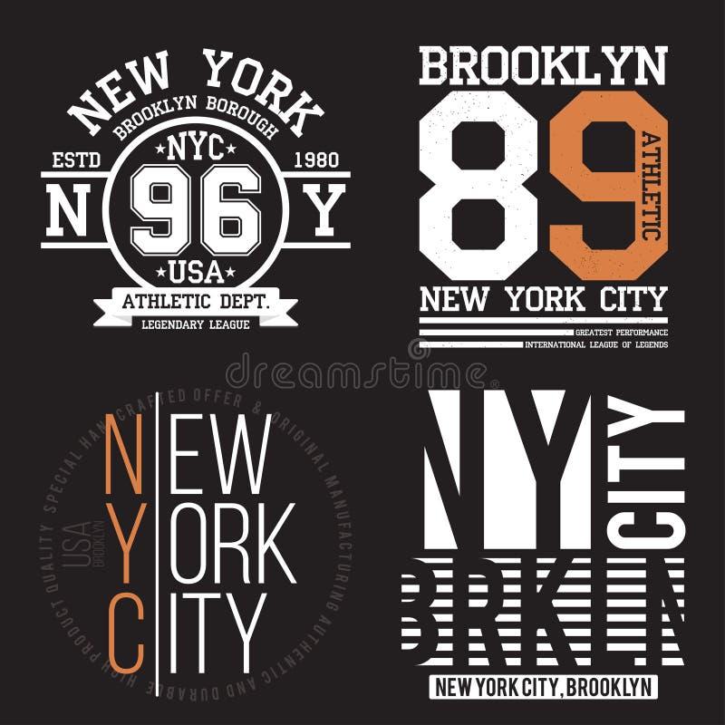 New York Brooklyn typografi för t-skjorta tryck Sportar idrotts- t-skjorta diagramuppsättning Emblemsamling royaltyfri illustrationer