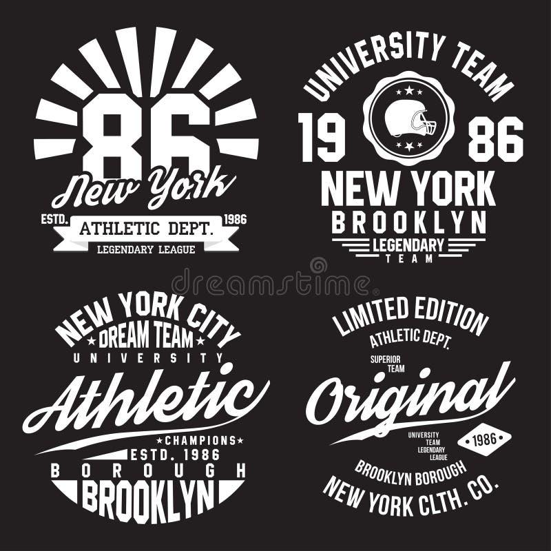 New York Brooklyn typografi för t-skjorta tryck Sportar idrotts- t-skjorta diagramuppsättning Emblemsamling vektor illustrationer