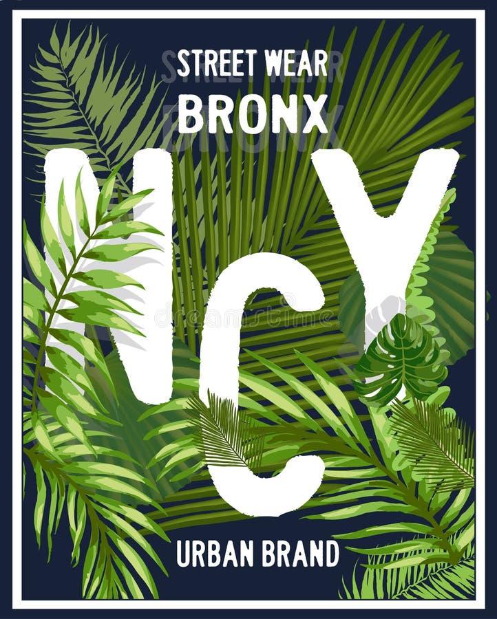New York Brooklyn typografi med den blom- illustrationen T-skjortaG royaltyfri illustrationer