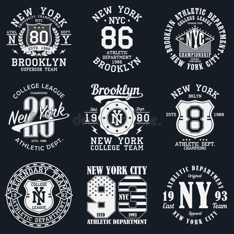 New York Brooklyn typografi Uppsättning av det idrotts- trycket för t-skjorta design Diagram för sportdräkt Samling av utslagspla vektor illustrationer