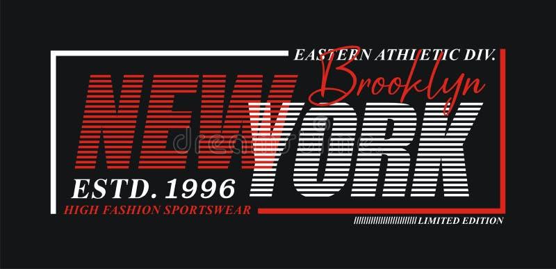 New York Brooklyn typografidesign, för t-skjorta och dräkttryck, vektorer stock illustrationer
