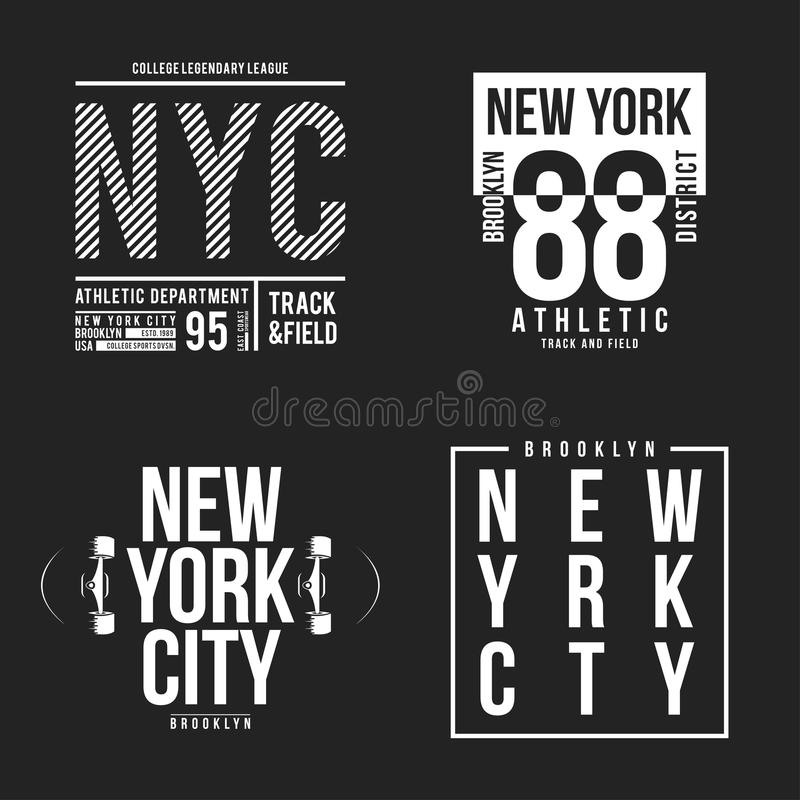 New York, Brooklyn typography for t-shirt print. Athletic patches collection for tee graphic. T-shirt design vector illustration