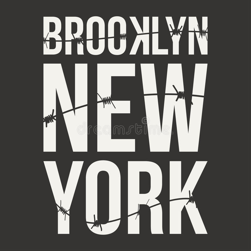 New York, Brooklyn typography for t-shirt print. Barbed wire and lettering. T-shirt graphics vector illustration