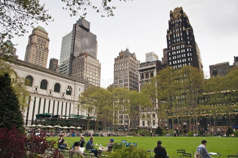 New York - Bryant Park. Bryant Park, a bit of green amid Midtown Manhattan`s buildings royalty free stock photo