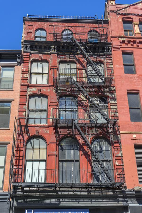 New-York building facades with fire escape stairs  royalty free stock image
