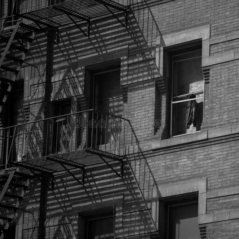 New York building fire escape stock photo