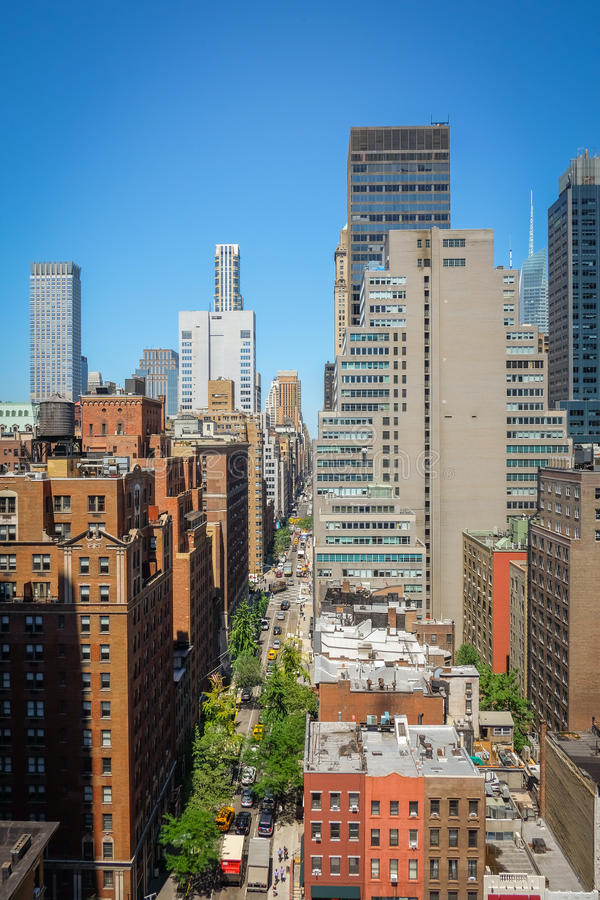New York Building and road form the roof top royalty free stock image