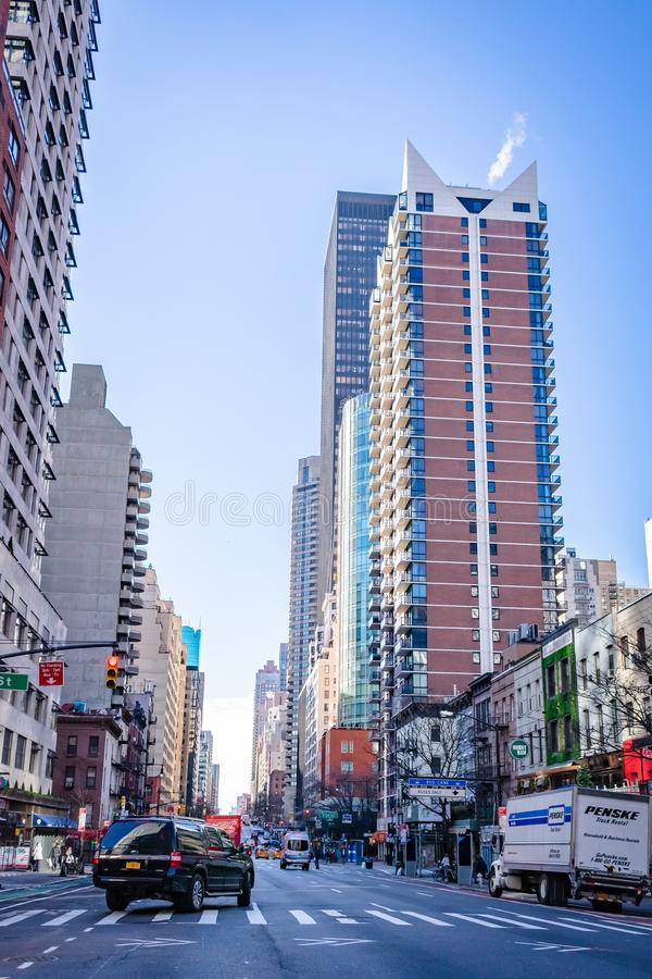 New York Building Scence of Streets. This image was taken while traveling the streets of NY in December 2017 royalty free stock photography