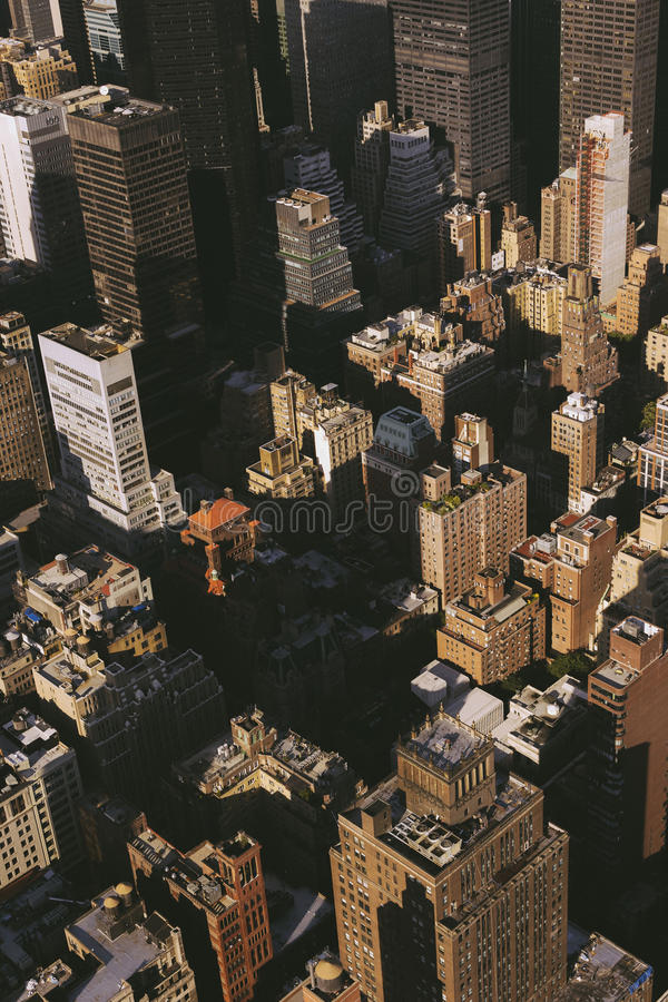 New York buildings from above with dark shadows, view from Empire State building. stock images