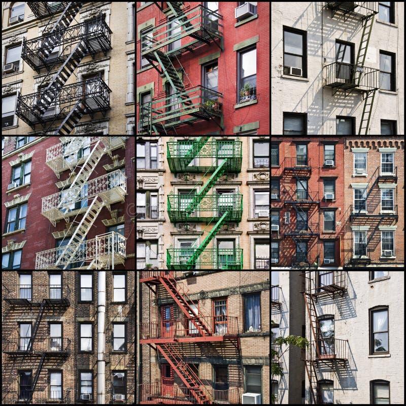 New York buiten de treden van de brandtrapveiligheid royalty-vrije stock fotografie