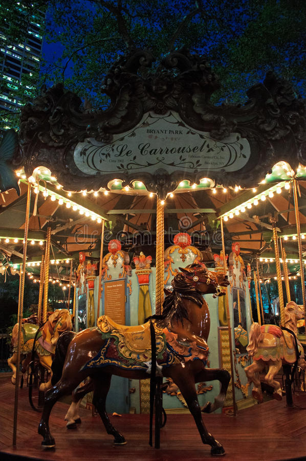 New York : carrousel en Bryant Park sur Septenber 14, 2014 image libre de droits