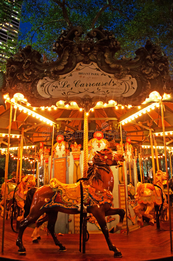 New York : carrousel en Bryant Park sur Septenber 14, 2014 photographie stock