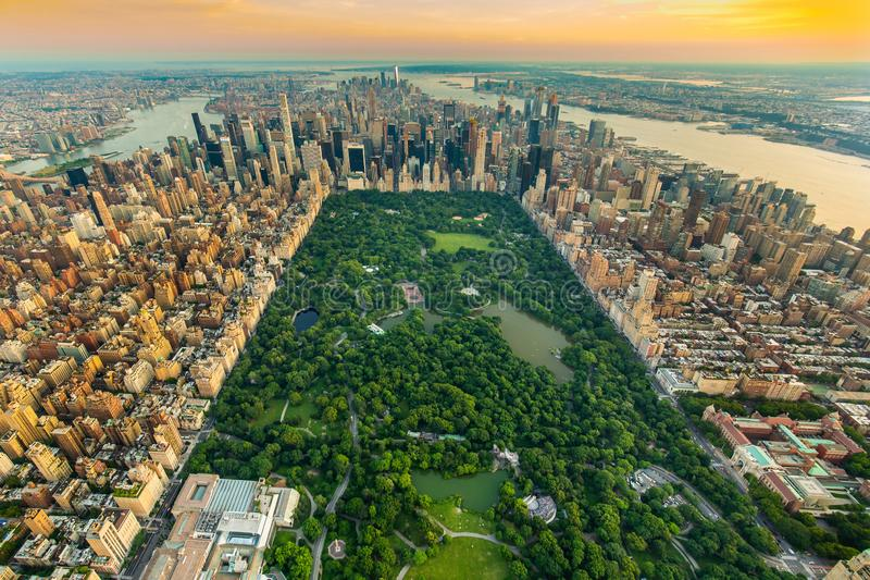 New York Central park aerial view in summer. Day stock photos