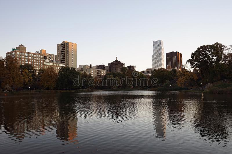 New York Central Park Lake Autumn with Skyline stock images