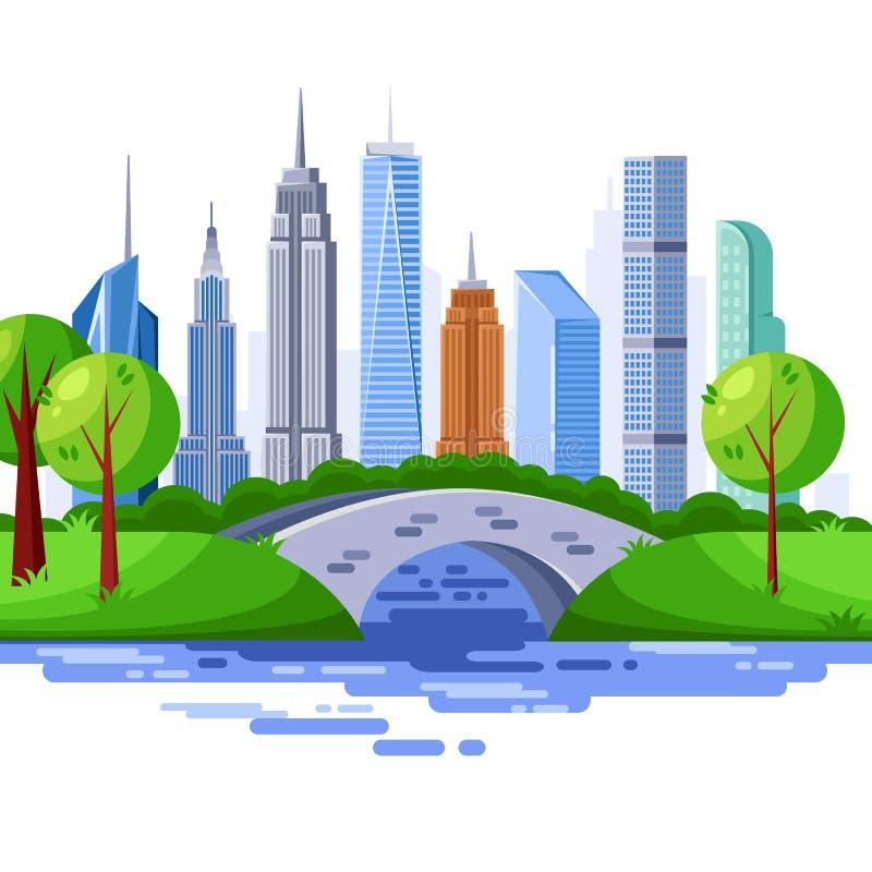 New York Central Park och stads- skyskrapabyggnader VektorCityscapeillustration royaltyfri illustrationer