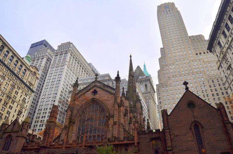 New York Church and scrapers stock photography