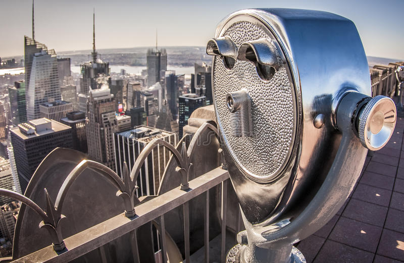 New York cit in the USA. Aerial view of New York city in the USA with focus on the coin operated binoculars stock photo