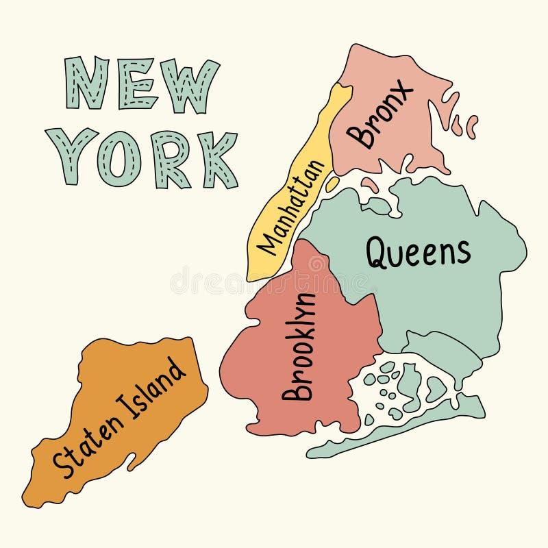 New York City översikt stock illustrationer