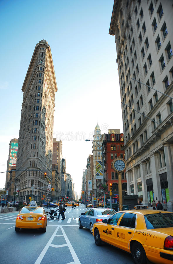 New York City. 5th avenue street view with Flatiron Building stock photography