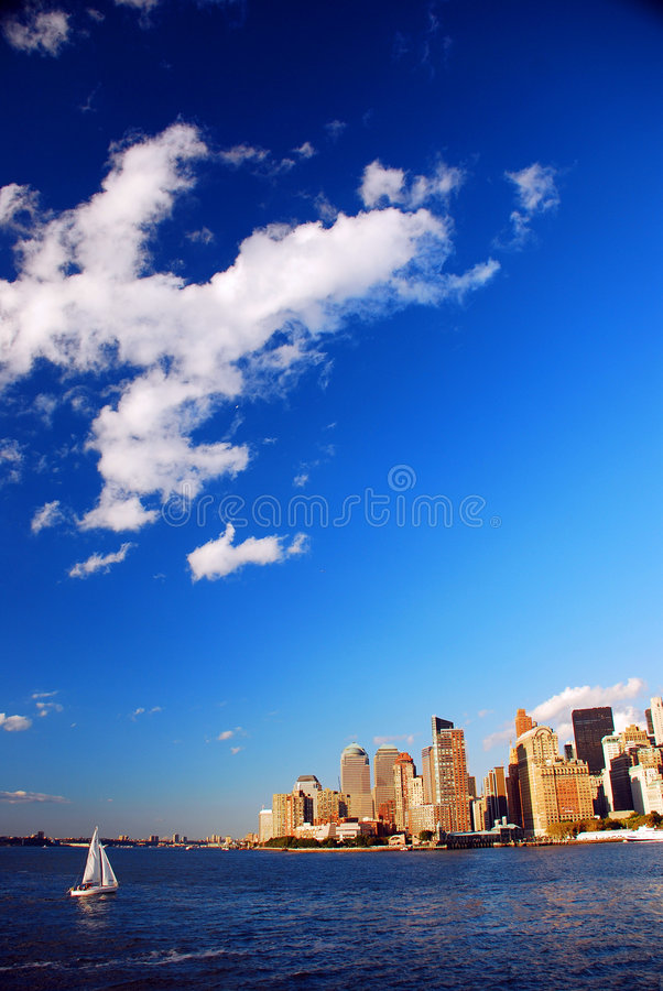 New York City. Lower manhattan with clear blue sky stock photography