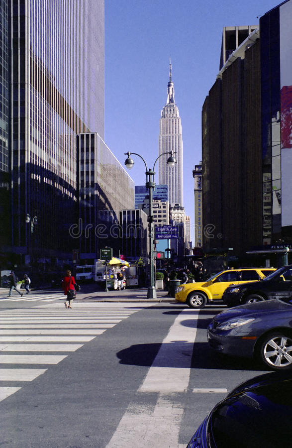 New York City 8th Avenue and 33d Street USA. Subway station, Pennsylvania Station, and Madison Square Garden at 8th Avenue and 33d Street intersection, Manhattan stock image