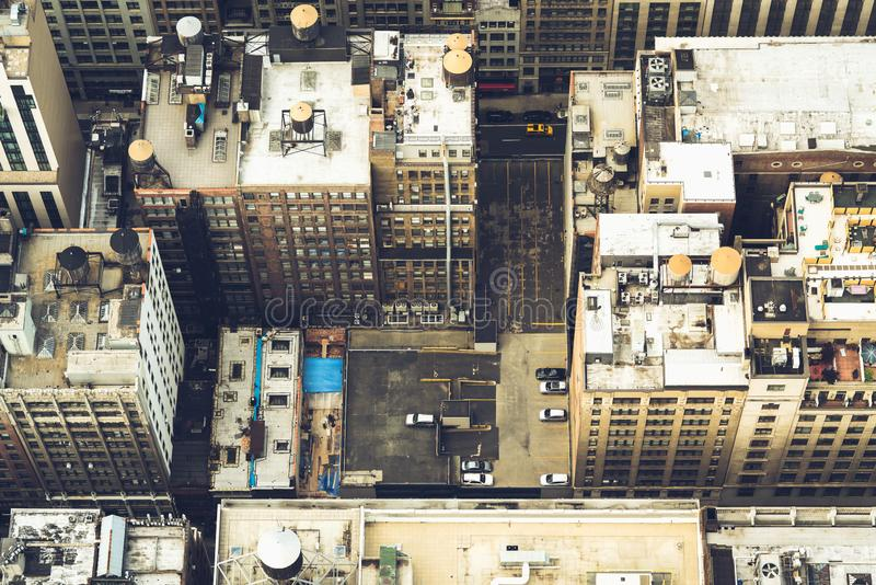 New York City, Aerial View of Manhattan. Buildings, Rooftop, Traffic stock image