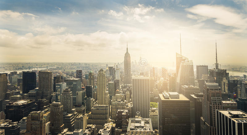 New York City. Aerial view of Manhattan skyline at sunset, New York City royalty free stock image