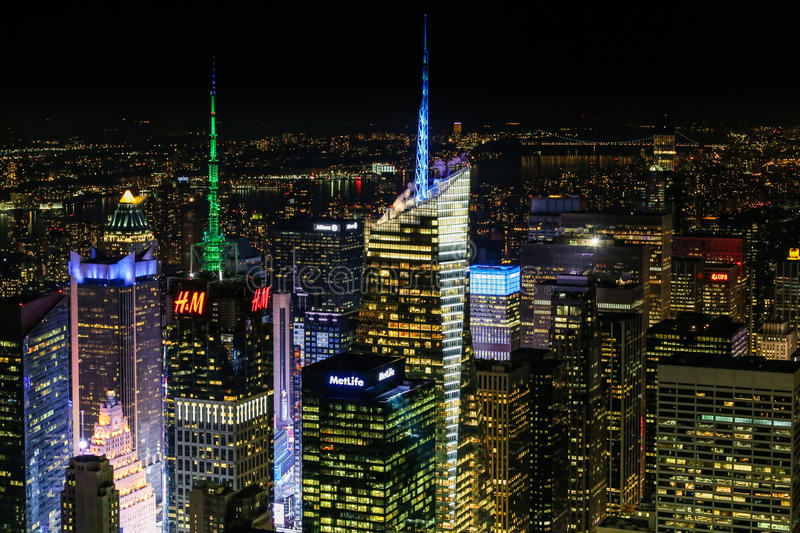 New York City alla notte dall'Empire State Building fotografia stock