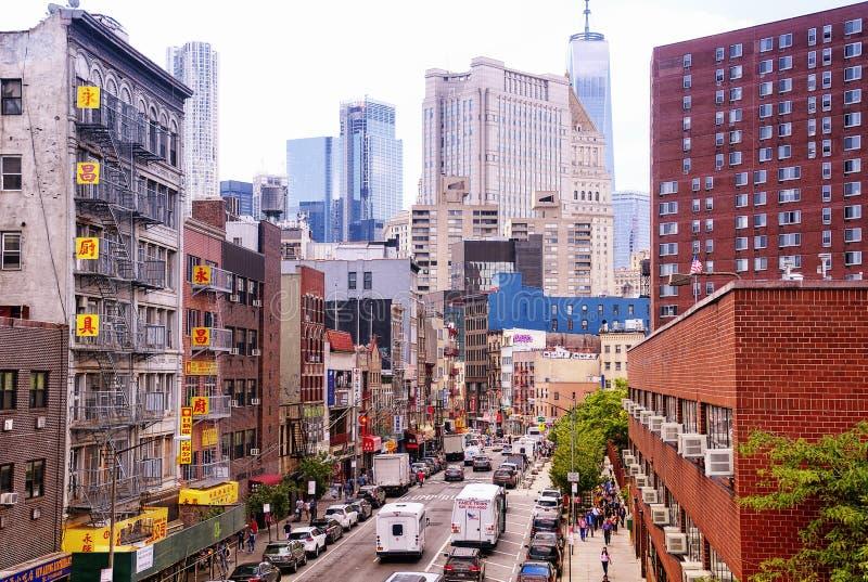 New york city apartment buildings Chinatown stock photos